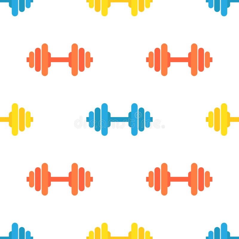 健身房杠铃的传染媒介无缝的样式 在明亮的颜色的运动器材 皇族释放例证
