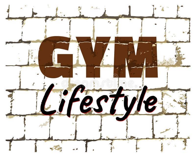 健身房生活方式,体育健身在风格化砖墙打印的健身房行情 您的设计的织地不很细题字 向量 库存例证