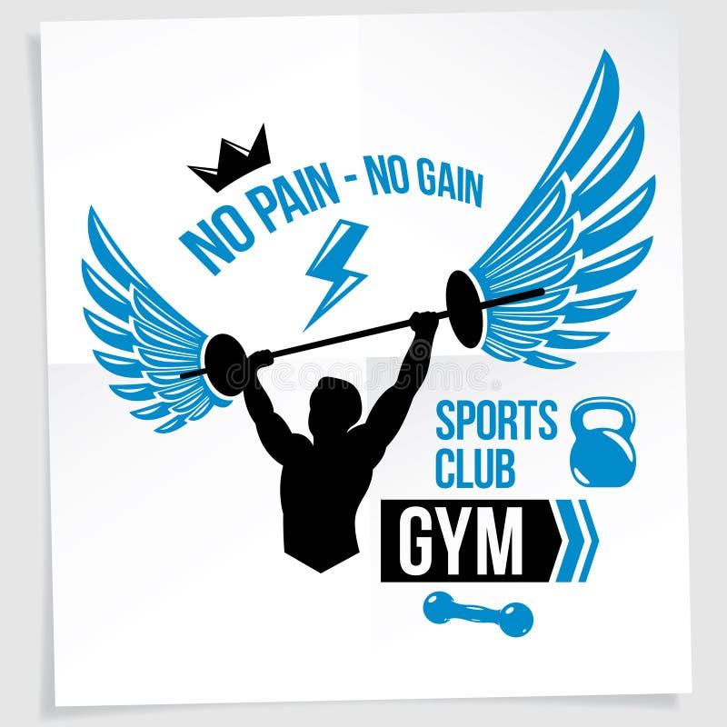 健身房用肌肉爱好健美者藏品杠铃运动器材的传染媒介例证创造的广告传单 没有痛苦,没有获取 皇族释放例证