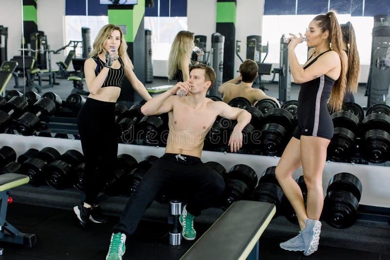健身房的年轻人,美丽的年轻体育人民拿着瓶水,微笑和谈话 图库摄影