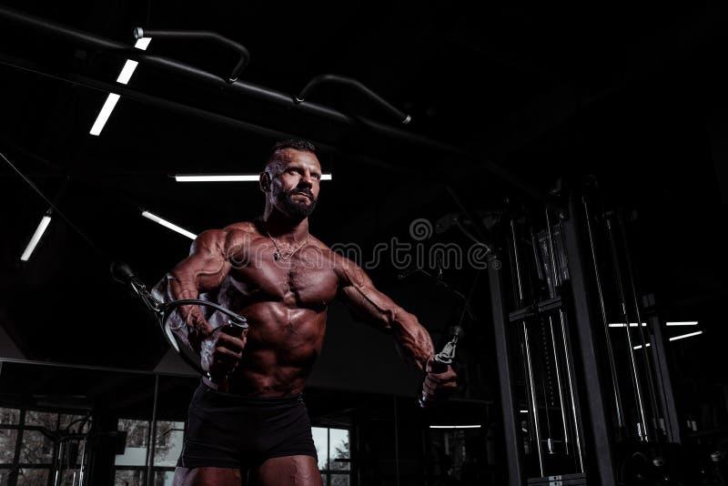 健身房的运动员 做胸口的肌肉运动人行使使用缆绳天桥机器 与被晒黑的皮肤的残酷男性 库存照片