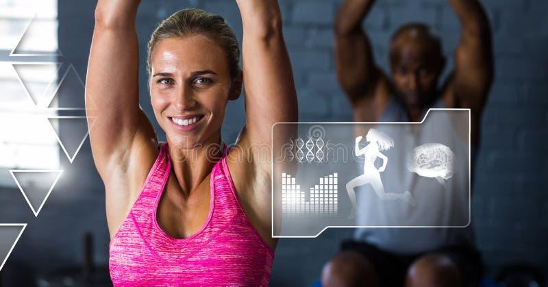 健身房的运动适合妇女与健康接口 库存照片
