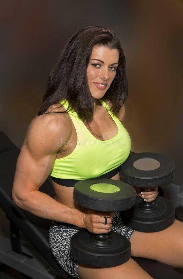 健身房秀丽为锻炼做准备 库存图片