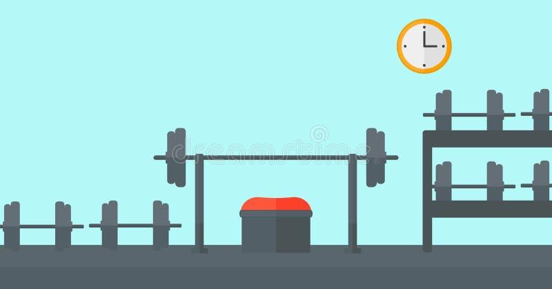 健身房背景用设备 库存例证