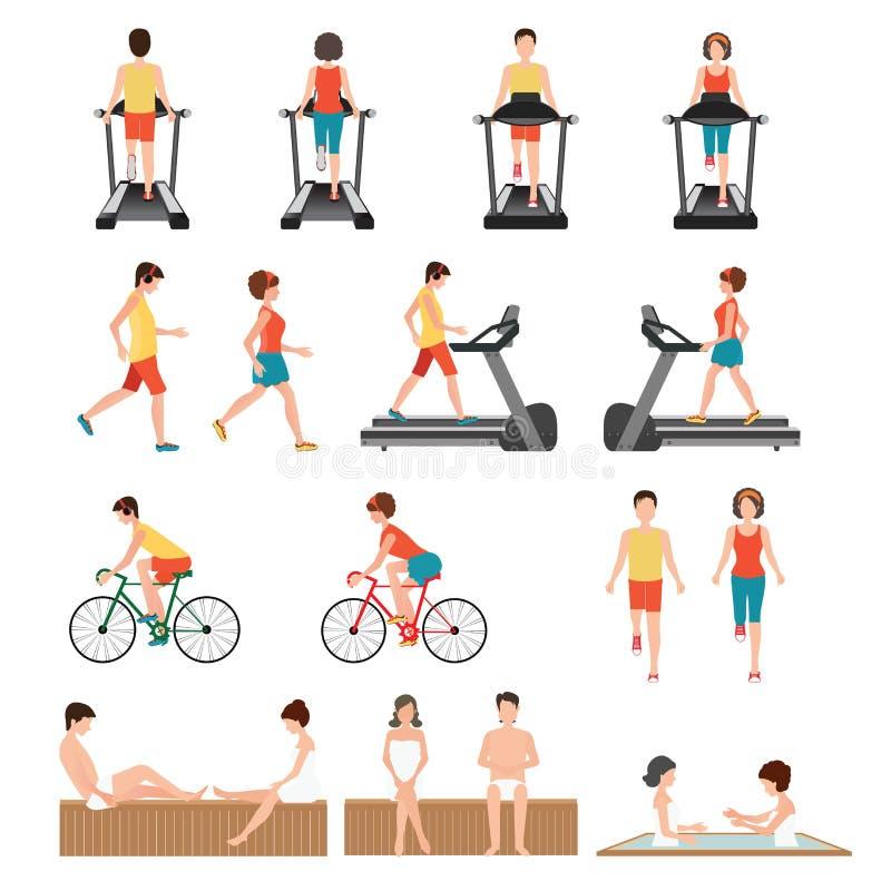 健身房行使的人们 向量例证