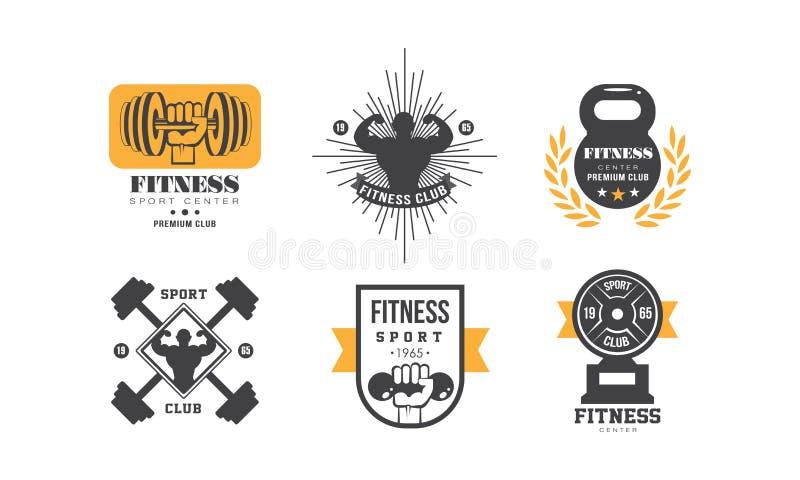 健身房锻炼商标设计集合、减速火箭的象征优质体育中心的或健身房传染媒介例证在白色背景 皇族释放例证