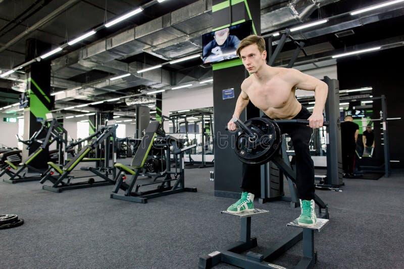 健身房锻炼 解决在健身房的肌肉人做锻炼在三头肌,强的男性赤裸躯干吸收 免版税库存照片