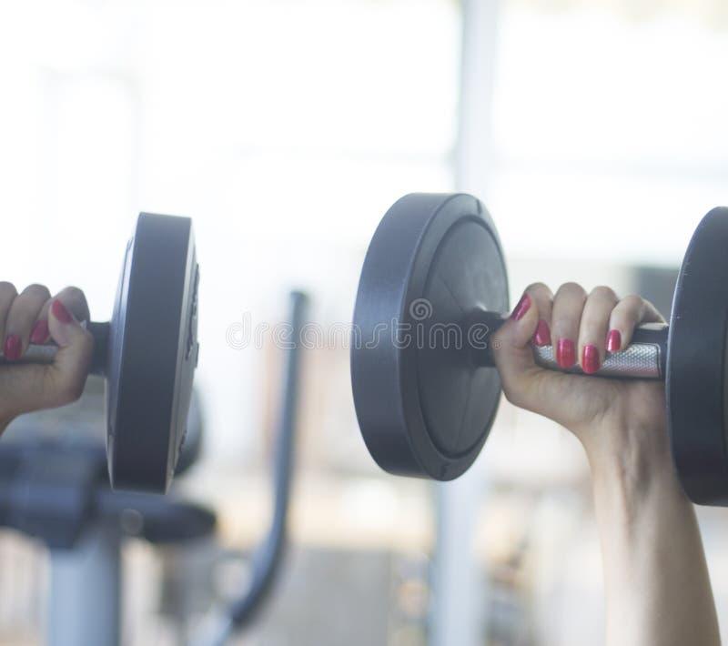 健身房锻炼dumbell释放重量 库存图片