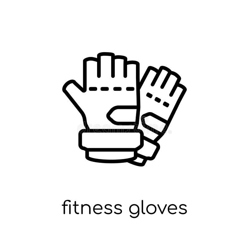 健身手套象 时髦现代平的线性传染媒介健身Gl 向量例证
