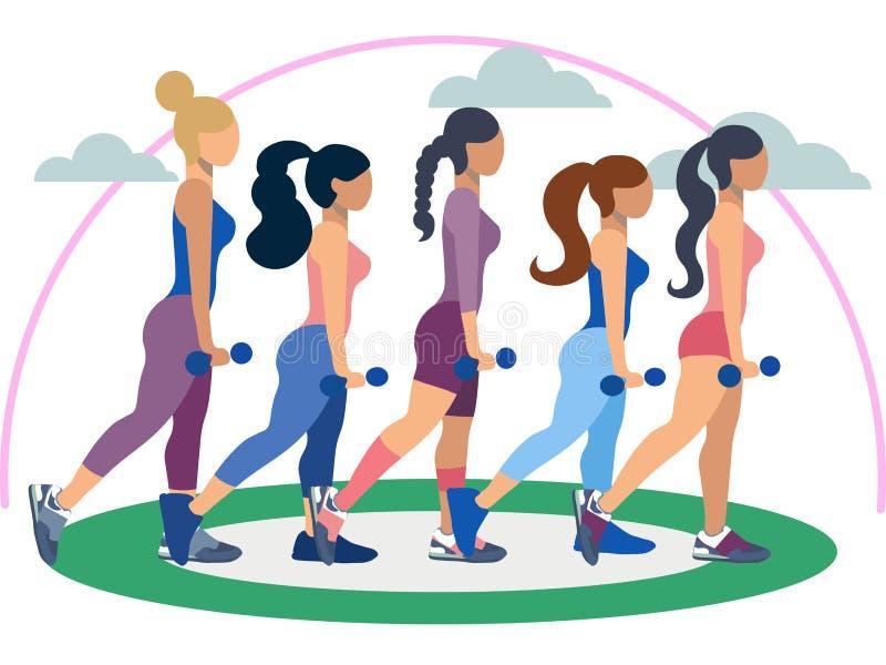 健身教练员,五名妇女 锻炼或平展适当地摆姿势 在最低纲领派样式 动画片传染媒介 皇族释放例证