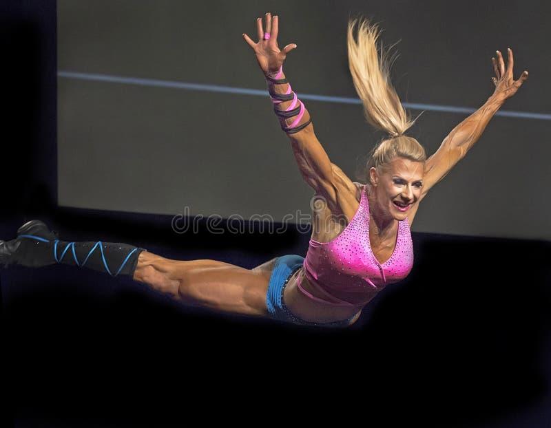 健身星上涨在温哥华比赛 库存照片