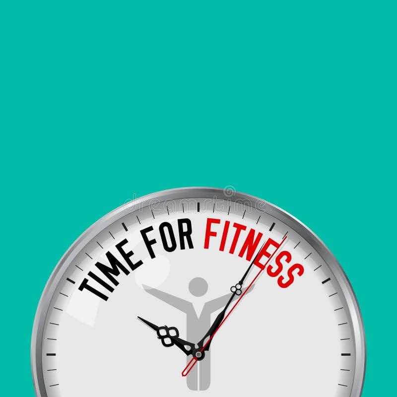 健身的时刻 有诱导口号的白色传染媒介时钟 有玻璃的模式金属手表 运动员象 皇族释放例证