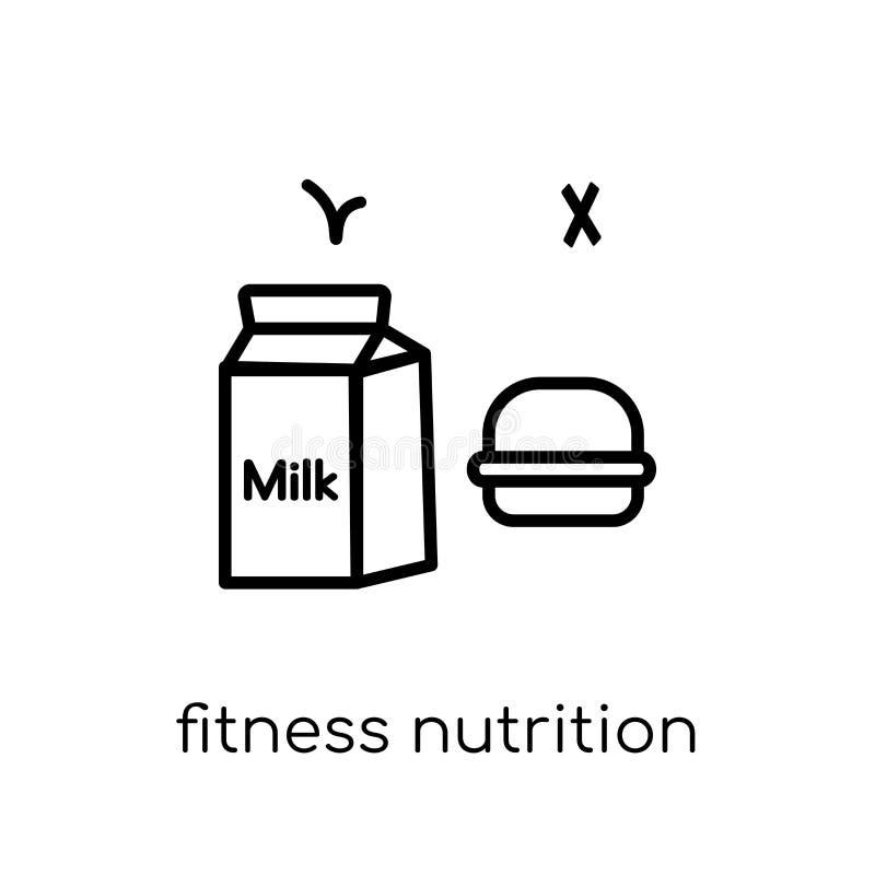 健身营养象 时髦现代平的线性传染媒介健身 向量例证