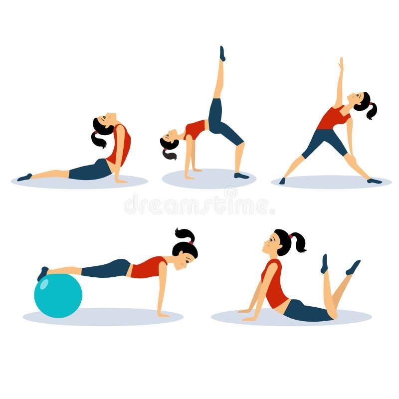健身被设置的妇女锻炼 提取空白背景蓝色按钮颜色光滑的例证查出的对象被设置的盾发光的向量 皇族释放例证