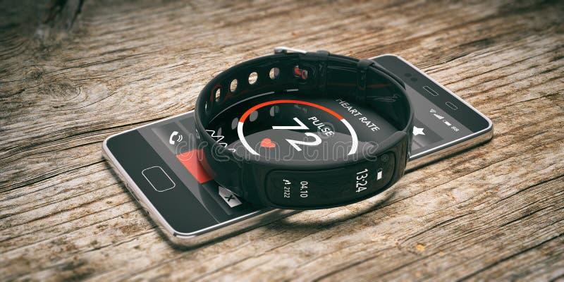 健身跟踪仪、巧妙的在木背景隔绝的手表和手机 3d例证 库存照片