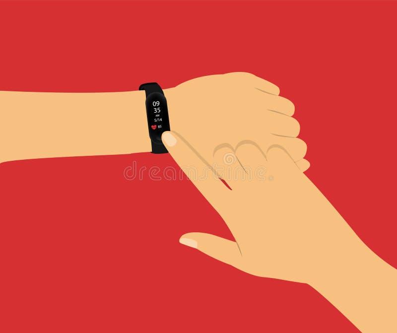 健身跟踪仪 巧妙的手表在手边 概念用在红色背景的手 向量例证