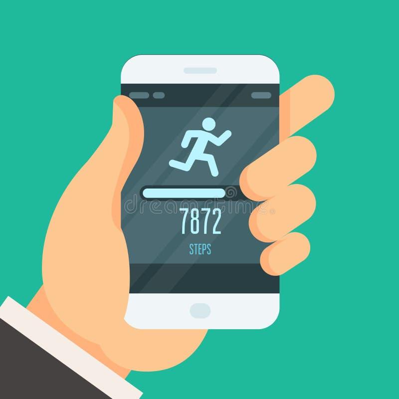 健身跟踪仪app -步进计数器 向量例证