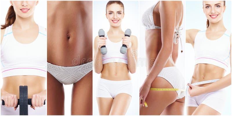 健身锻炼的美丽和适合的妇女 被隔绝的拼贴画 体育、营养、健康和减重概念 库存图片