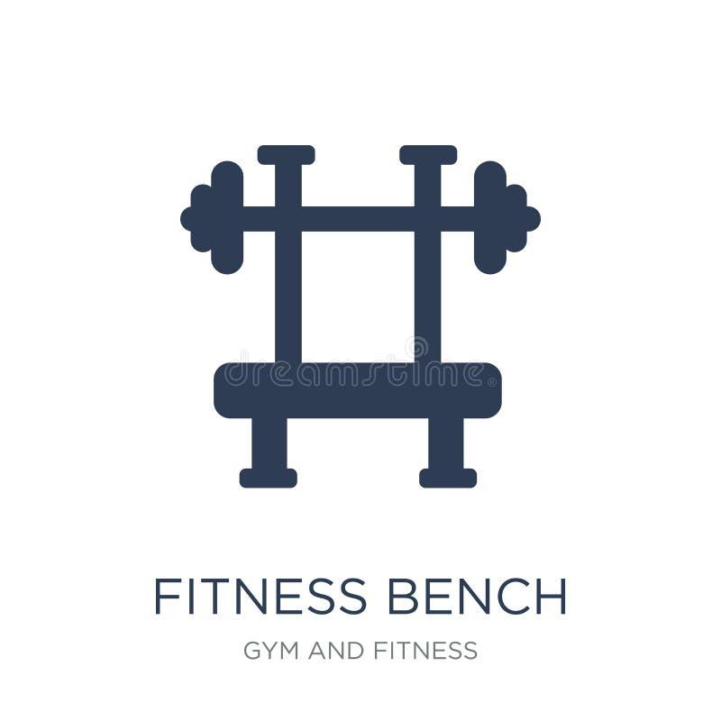 健身长凳象 在whi的时髦平的传染媒介健身长凳象 库存例证
