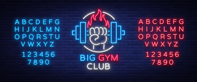 健身,健身房商标签到被隔绝的霓虹样式,传染媒介例证 一副发光的横幅,一个明亮的霓虹灯广告,夜 库存例证