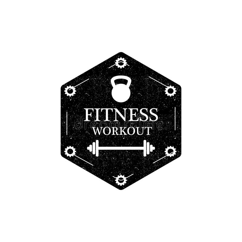 健身锻炼商标或徽章在葡萄酒样式 也corel凹道例证向量 库存例证