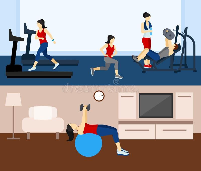 健身锻炼横幅 皇族释放例证