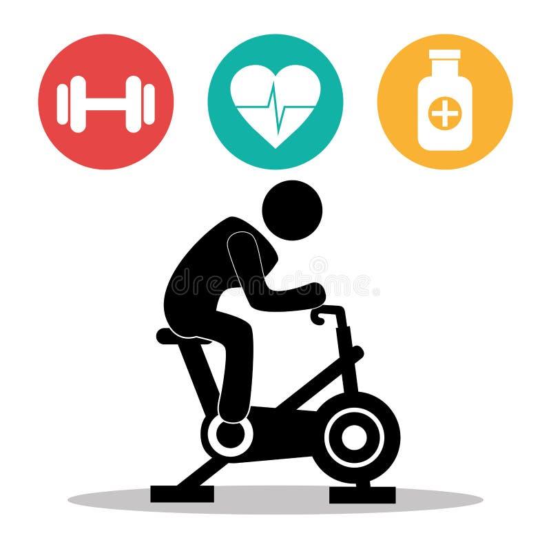 健身healthty生活方式设计 库存例证