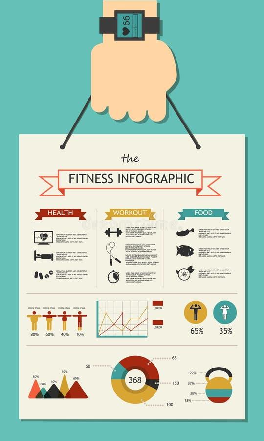 健身infographic在舱内甲板设计用手 向量例证