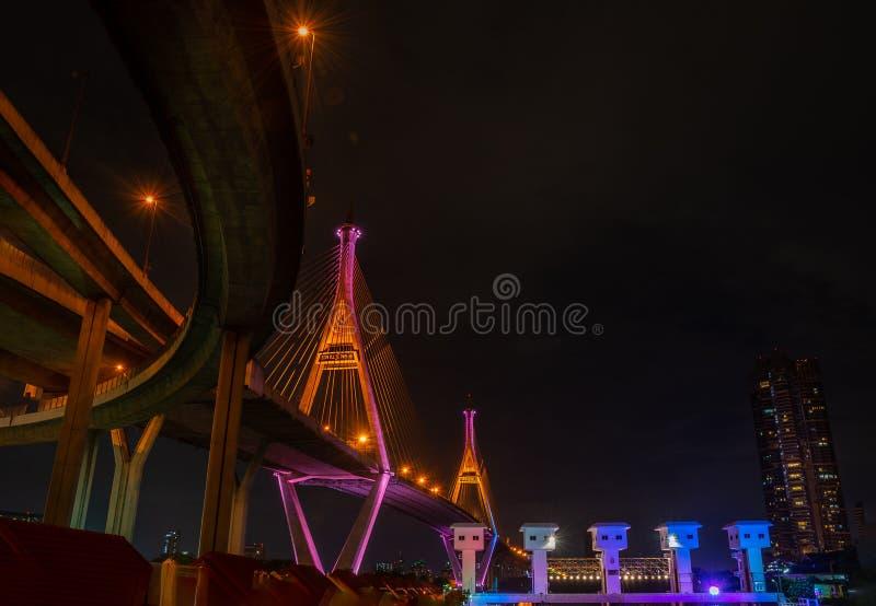 偶然也普密蓬桥梁叫作为有水闸的工业环行路桥梁照亮与聚光灯在夜景,萨穆特 库存图片