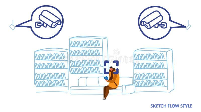 偶然人坐的长沙发看书cctv面部公认概念安全监控相机系统现代图书馆内部 向量例证