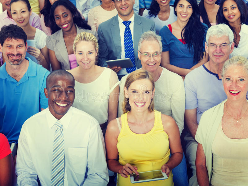 偶然小组不同的人民社会大会观众概念 库存照片