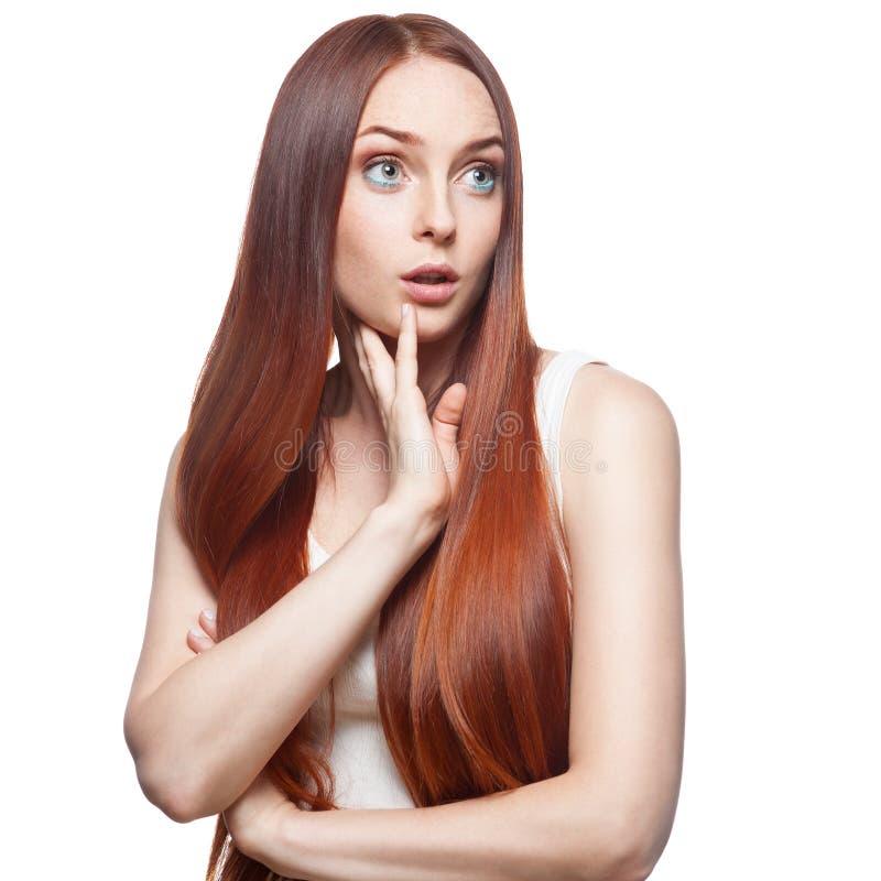 偶然惊奇的红发女孩 库存照片