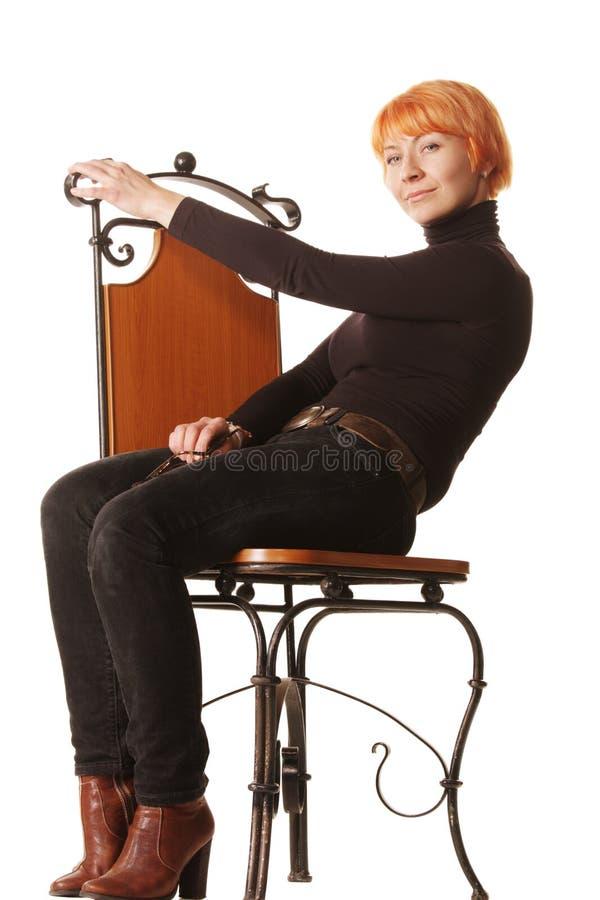偶然椅子红头发人开会 图库摄影