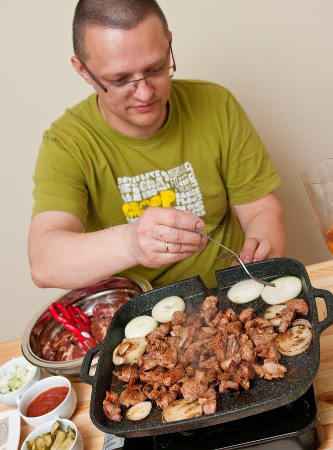 偶然烹调人肉 库存照片