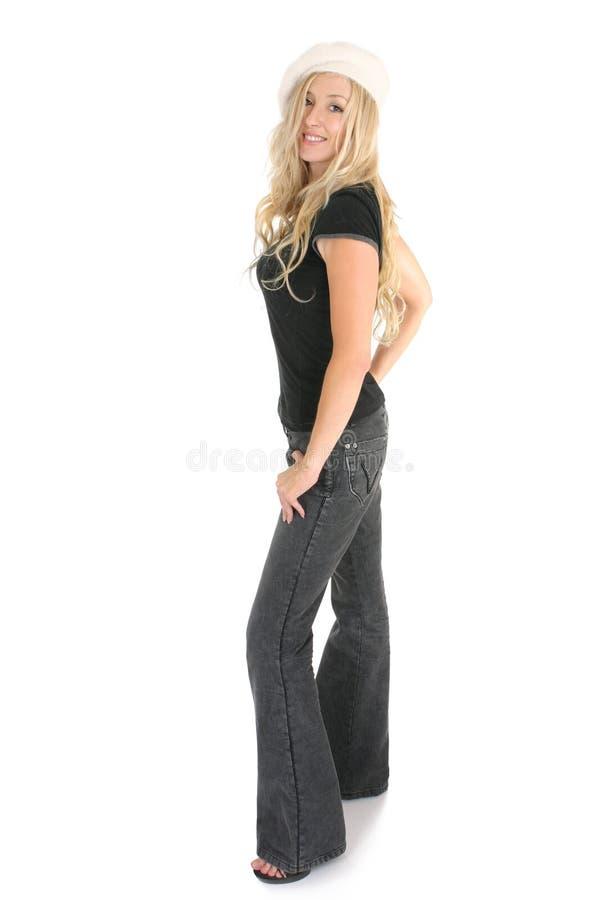 偶然牛仔裤妇女 免版税库存照片