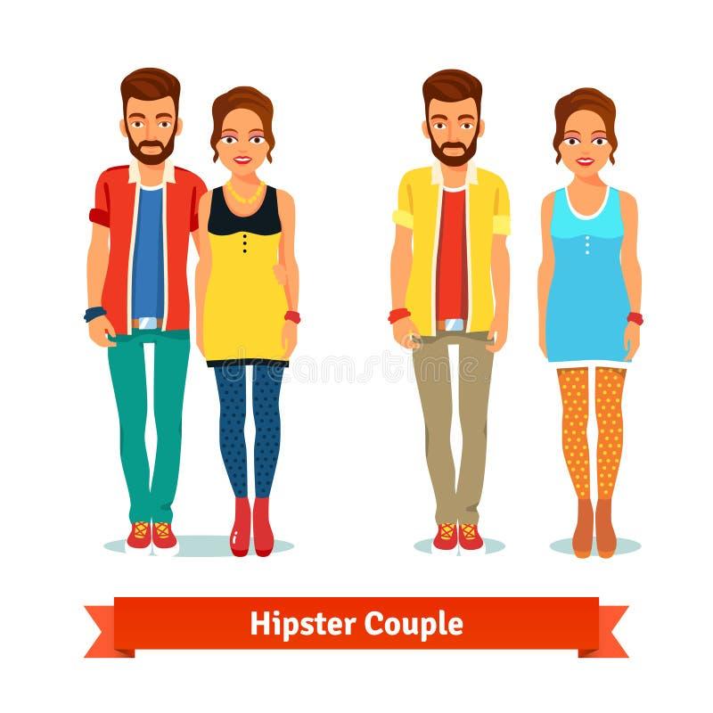 偶然穿戴的常设行家夫妇 向量例证