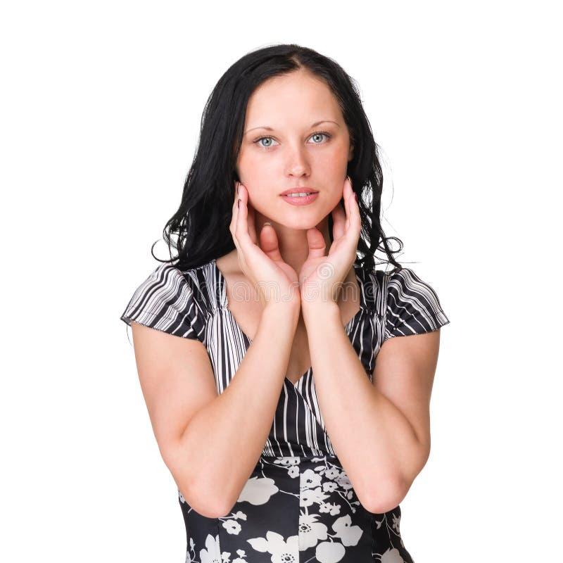 偶然纵向样式妇女 查出在白色 免版税库存照片