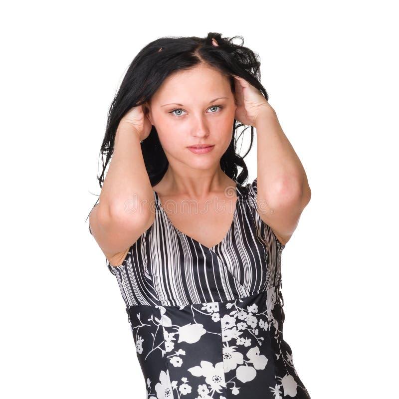 偶然纵向样式妇女 查出在白色 库存照片