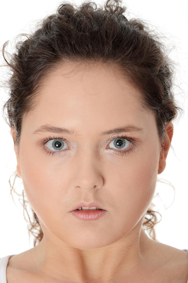 偶然肥头大耳的疯狂的妇女年轻人 库存照片