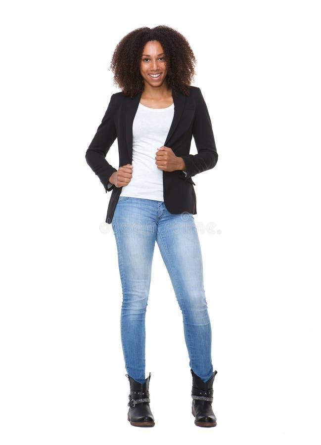 偶然年轻非裔美国人的妇女 免版税库存照片