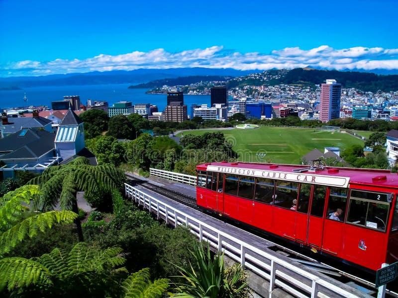 偶象惠灵顿缆车,新西兰 免版税库存照片