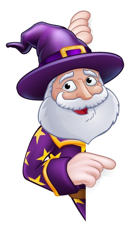 偷看圆标志指向的巫术师动画片 向量例证