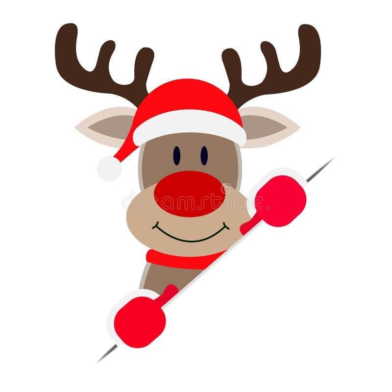 偷看在一张白色纸片的圣诞老人的鹿外面 皇族释放例证