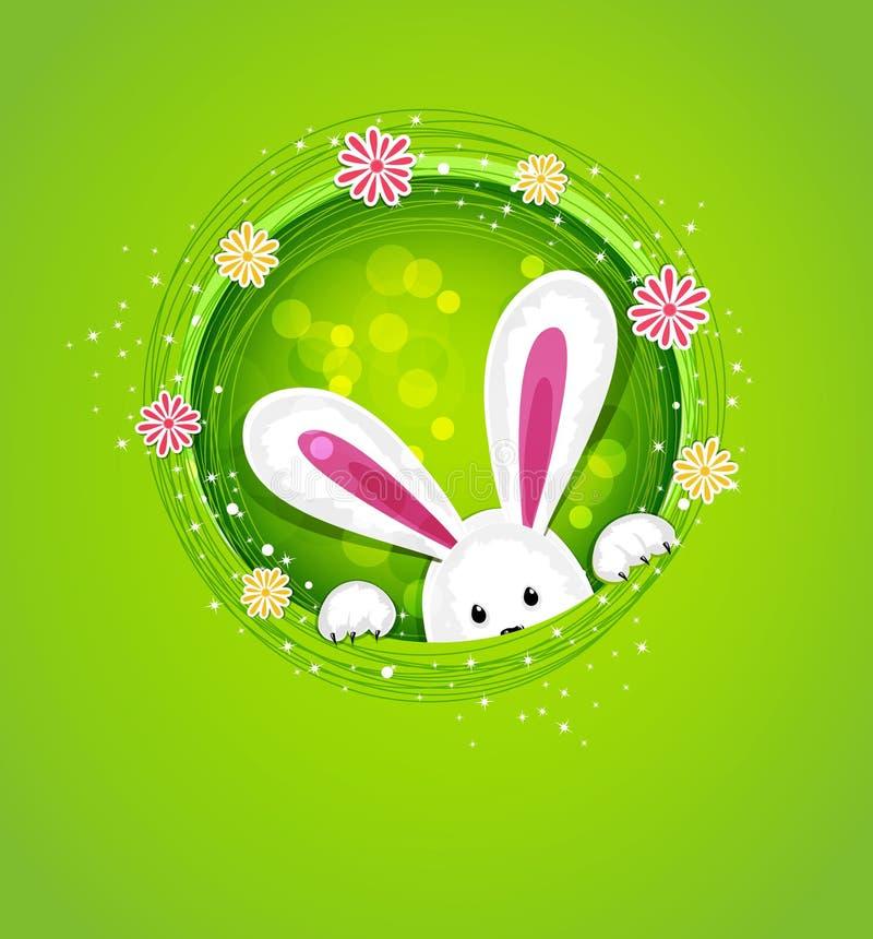 传染媒介偷看在孔外面的复活节兔子 库存例证