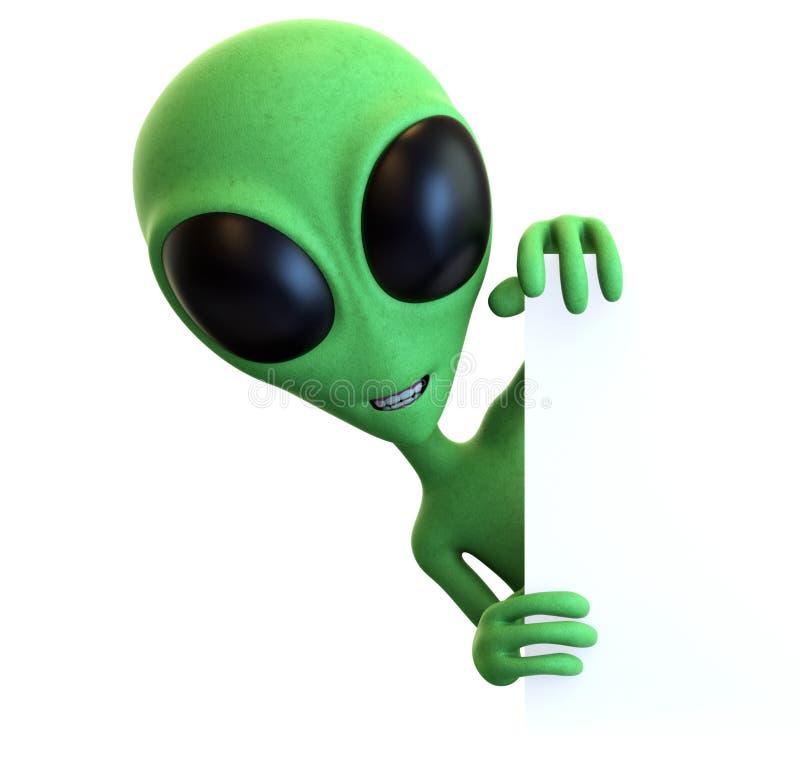 偷看在标志附近的绿色动画片外籍人 免版税库存图片