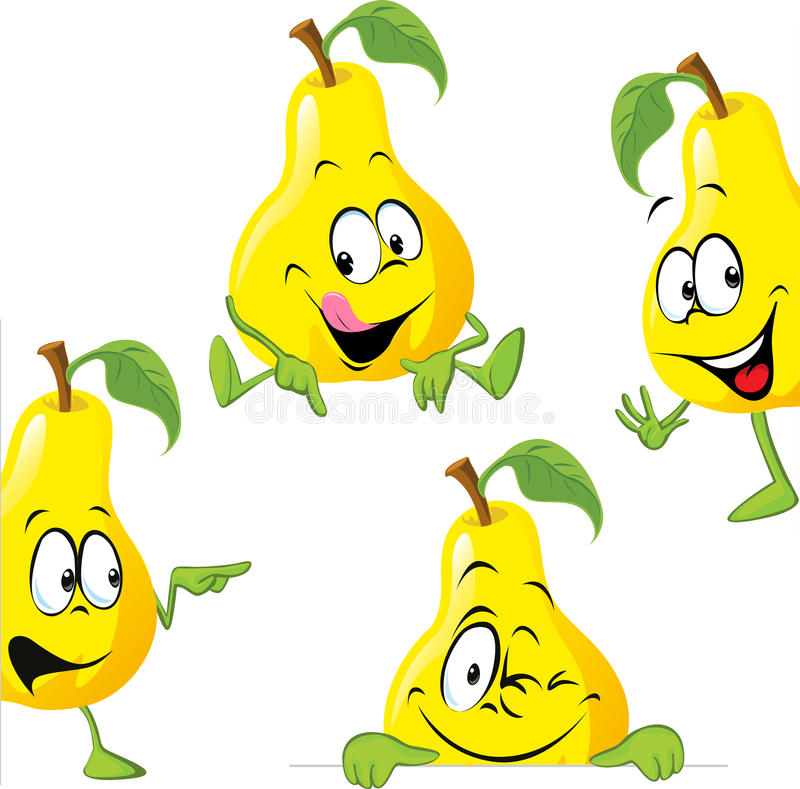 偷看梨的动画片隔绝在白色 向量例证