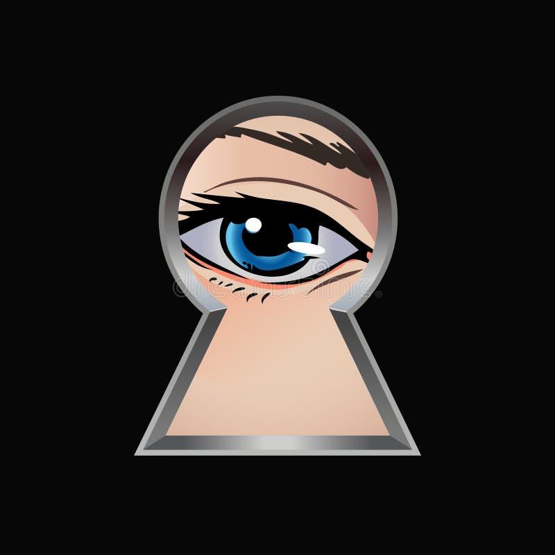 偷看通过匙孔的眼睛 库存例证