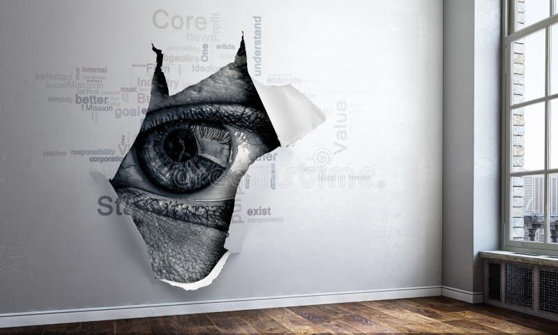 偷看通过孔的眼睛 r 免版税库存图片