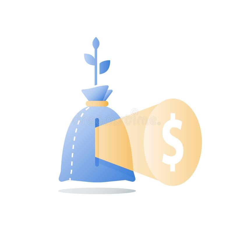 储款成长,长期投资,财政战略,养恤基金,创造性的想法,挣钱 皇族释放例证