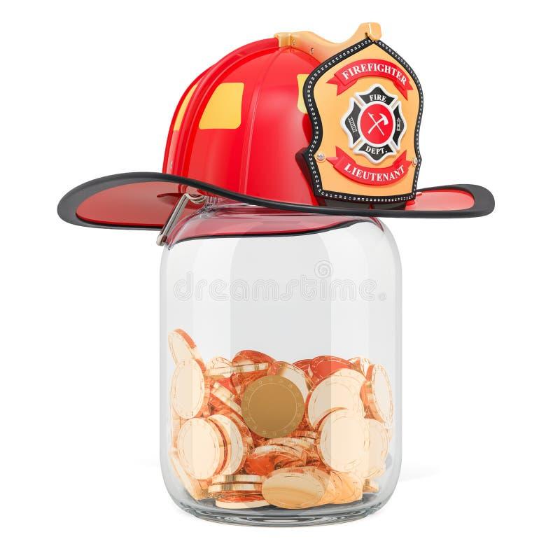 储款金钱或养恤基金的消防员的概念 3D renderin 向量例证